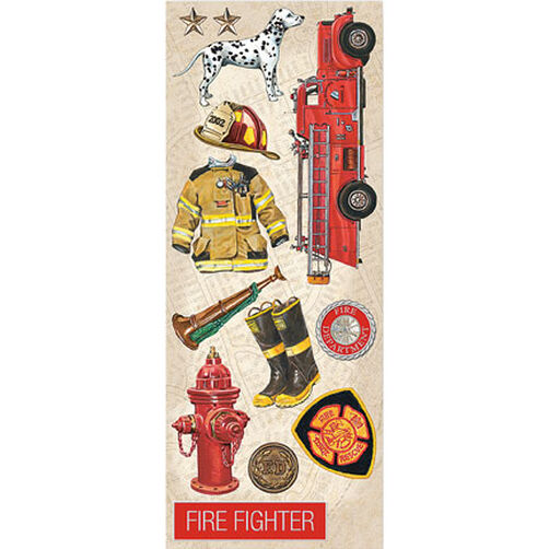 Firefighter Images Embossed Stickers_551015