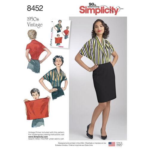 Simplicity Pattern 8452 Misses' Vintage Knit Blouse