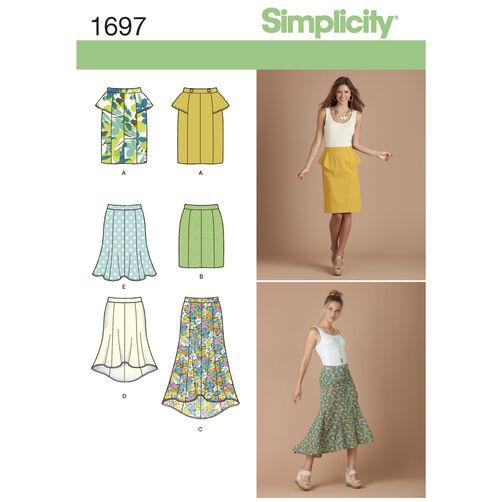 Simplicity Pattern 1697 Misses' & Miss Petite Skirts