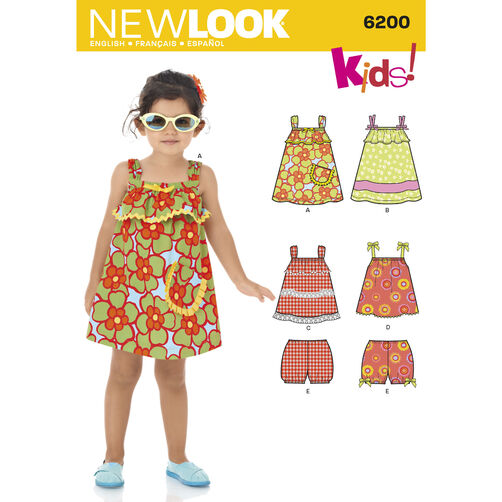 New Look Pattern 6200 Toddlers' Dress, Top & Bloomers