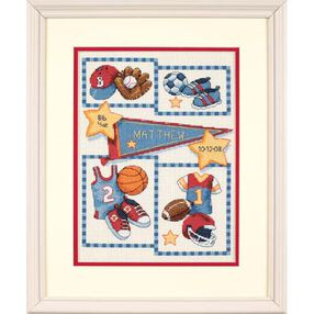 Little Sports Birth Record, Counted Cross Stitch_73256