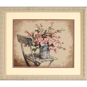 Roses on White Chair, Counted Cross Stitch_35187