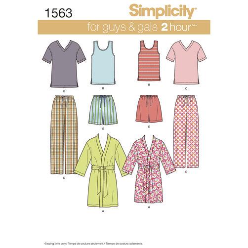 Simplicity Pattern 1563 Misses' Men's and Teens' Sleepwear