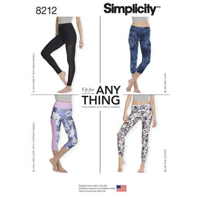 Simplicity Pattern 8212 Misses' Knit Leggings