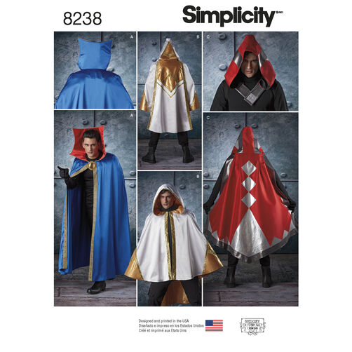 Simplicity Pattern 8238 Misses', Men's and Teen's Cape Costumes