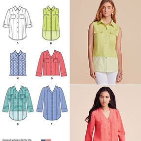 Misses' Button Front Shirt in Various Styles