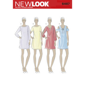 New Look Pattern 6467 Misses' Shift Dresses with Neckline, Sleeve, and Hem Variations