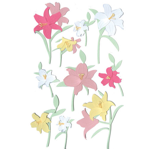 Pink Yellow White Lily Sticker_M860362