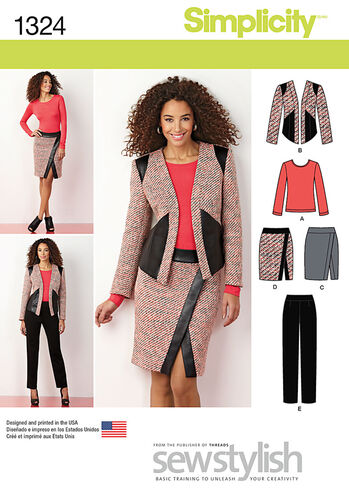 Misses' Slim Pants, Skirt, Jacket & Knit  Top