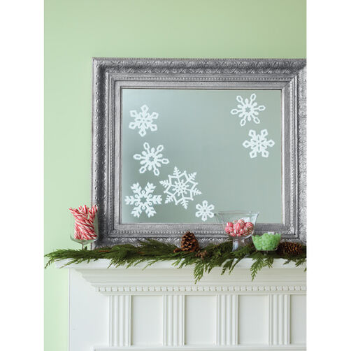 Glittered Snowflake Mirror Clings _48-30059