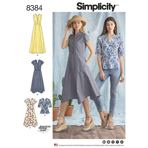 Simplicity Pattern 8384 Misses' Dress with Length Variations and Top