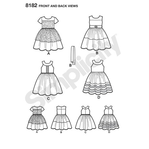 Pattern 8182 Child's Party Dresses