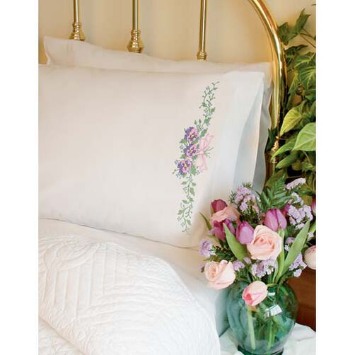 Pansy Trio Pillow Cases, Stamped Cross Stitch_73190
