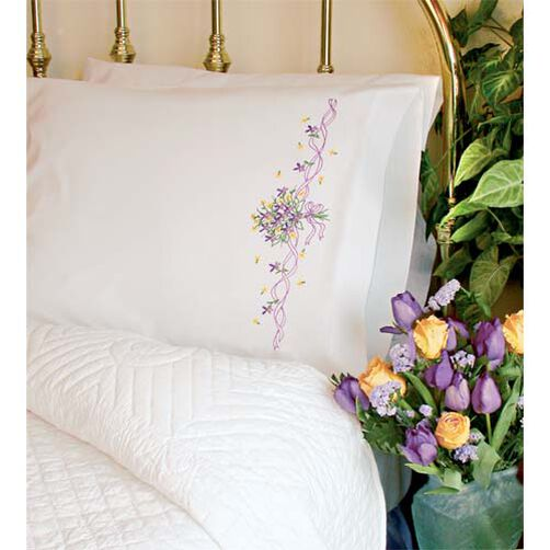 Violets Nosegay Pillow Cases, Embroidery_73200