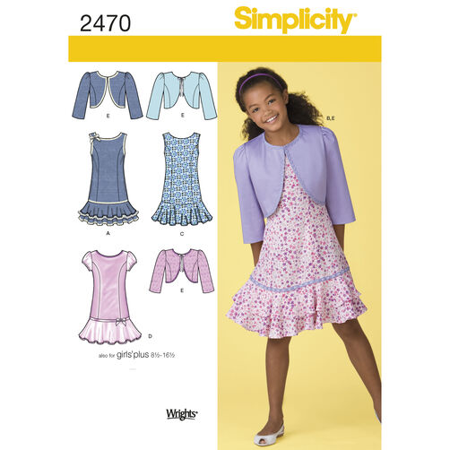 Simplicity Pattern 2470 Girls' & Girls' Plus Dresses