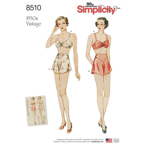 Simplicity Pattern 8510 Misses' Vintage Brassiere and Panties