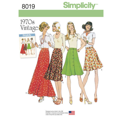 Simplicity Pattern 8019 Misses' Vintage 1970s Skirts