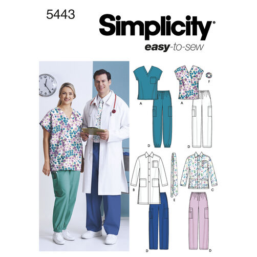 Simplicity Pattern 5443 Women's & Men's Plus Size Scrubs