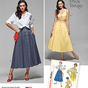 Misses' Vintage Blouse, Skirt and Bra Top