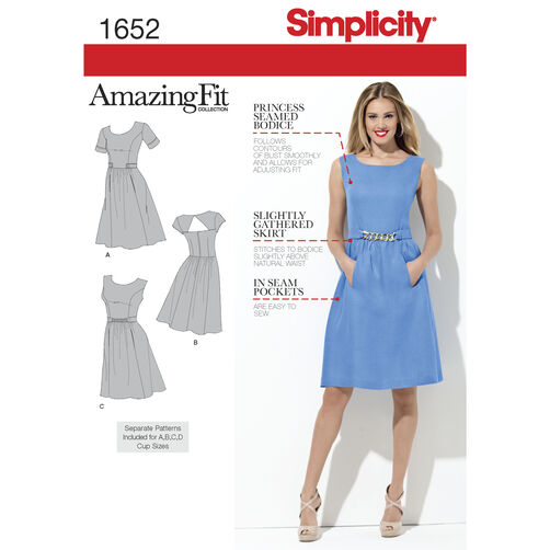 Simplicity Pattern 1652 Misses' & Miss Petite Amazing Fit Dresses