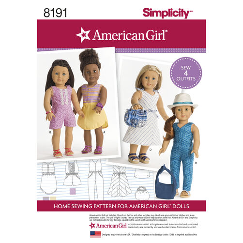 "Pattern 8191 American Girl Doll Clothes for 18"" Doll"