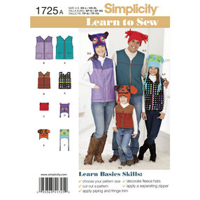 Simplicity Pattern 1725 Learn to Sew Miss/Men/Child Vests and Hats
