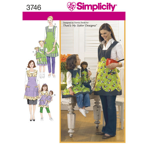 "Simplicity Pattern 3746 Aprons for Child, Misses, and 18"" Dolls"