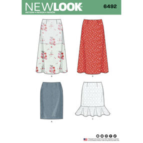 New Look Pattern 6492 Misses' Skirts with Length Variations