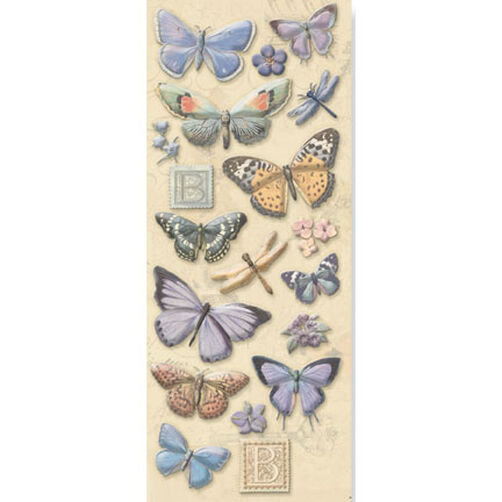 Elizabeth Brownd Traditional Butterflies Glitter Embossed Stickers_551848