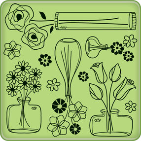 Flower Pattern Mini Cling Stamp_60-60233