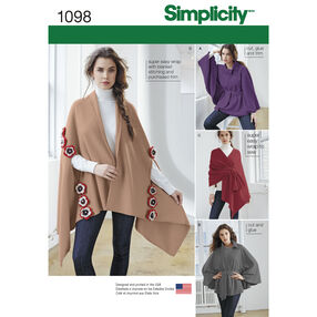 Simplicity Pattern 1098 Misses' Fleece Ponchos and Wraps