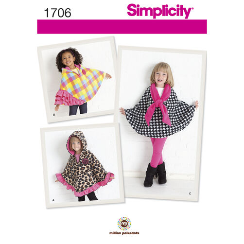 Simplicity Pattern 1706 Child's Fleece Capes