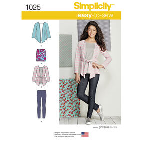 Simplicity Pattern 1025 Knit Separates for Girls and Girls Plus