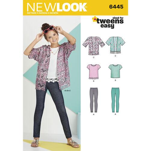 Pattern 6445 Easy Girls Kimono, Knit Top and Leggings