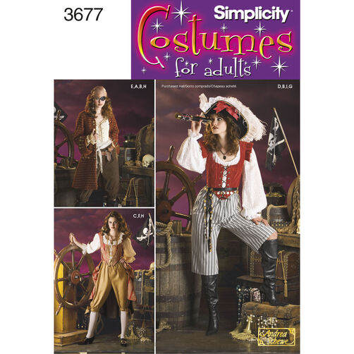Simplicity Pattern 3677 Misses' Pirate Costumes