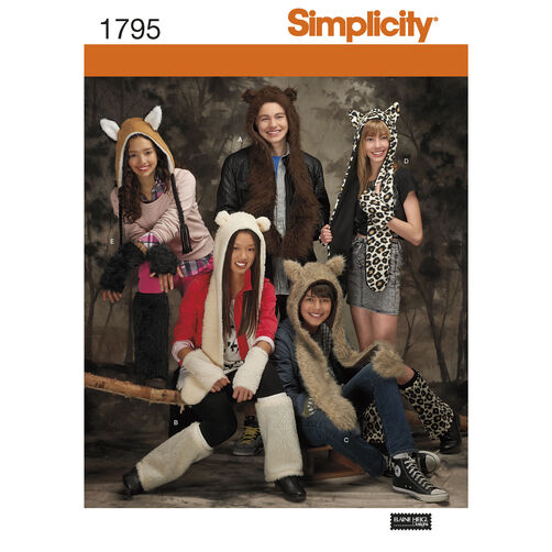 Simplicity Pattern 1795 Misses', Men's & Teens' Animal Hats