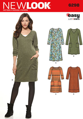 Misses' Knit Dress with Neckline & Length Variations <br>