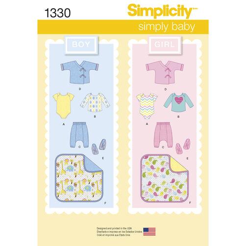 Simplicity Pattern 1330 Babies' Separates, Booties & Blanket