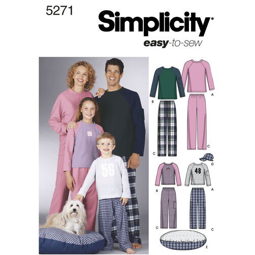 Simplicity Pattern 5271 Child's, Teens' & Adults' Sleepwear