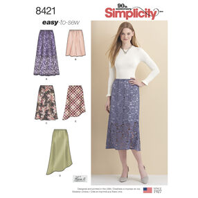 Pattern 8421 Misses' Skirts in Three lengths with Hem Variations