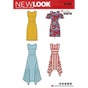 New Look Pattern 6495 Misses' Dresses with Length Variations