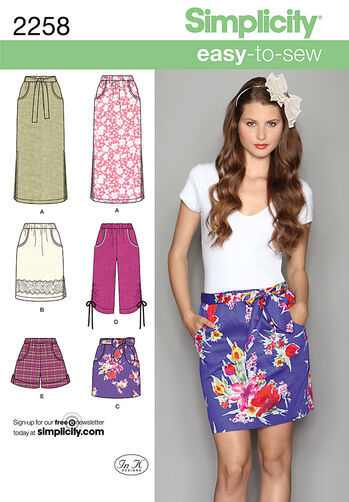 Simplicity Pattern 2258 Misses' Easy to Sew Skirts & Shorts