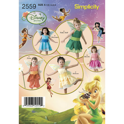 Simplicity Pattern 2559 Disney Fairies Costumes for Toddlers