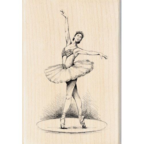Ballerina Dancer Wood Stamp_60-00871