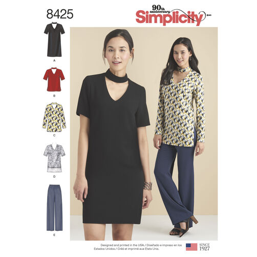Simplicity Pattern 8425 Misses'/Miss Petite Choker Collar Dress, Tunic and Top with Pants