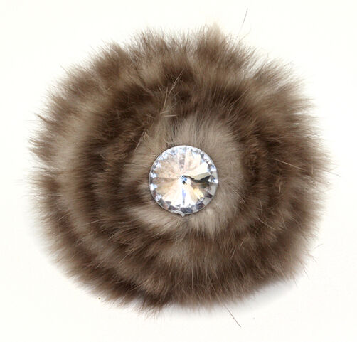 Tan Fur Bling Pin & Clip Flower_56-63044