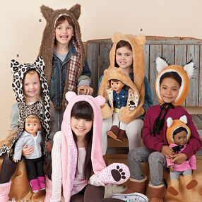 """Child's and 18"""" Doll Animal Hats"""
