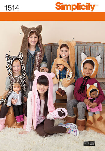 "Child's and 18"" Doll Animal Hats"