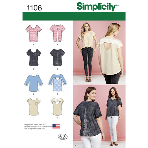 Simplicity Pattern 1106 Misses' Tops with Fabric Variations
