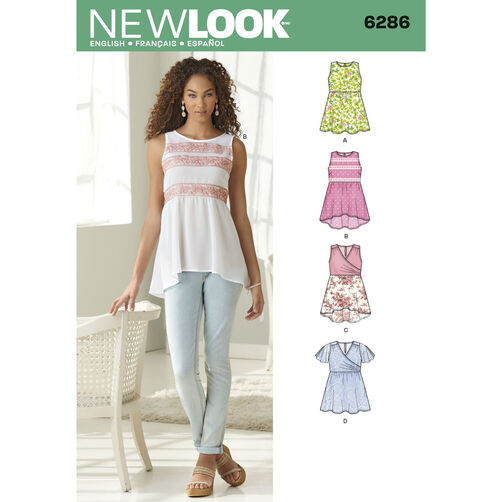 New Look Pattern 6286 Misses' Pullover Tops with Hemline Variations